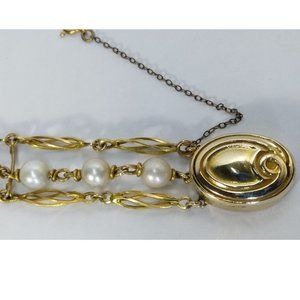 Vintage 14k Gold White Cultured Pearl Bracelet